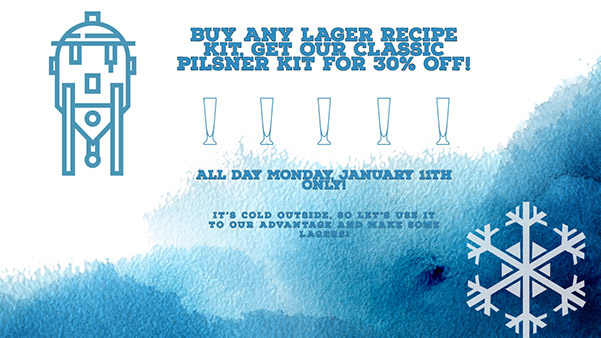 Buy any lager home brew kit, get a classic pilsner 30% Off!