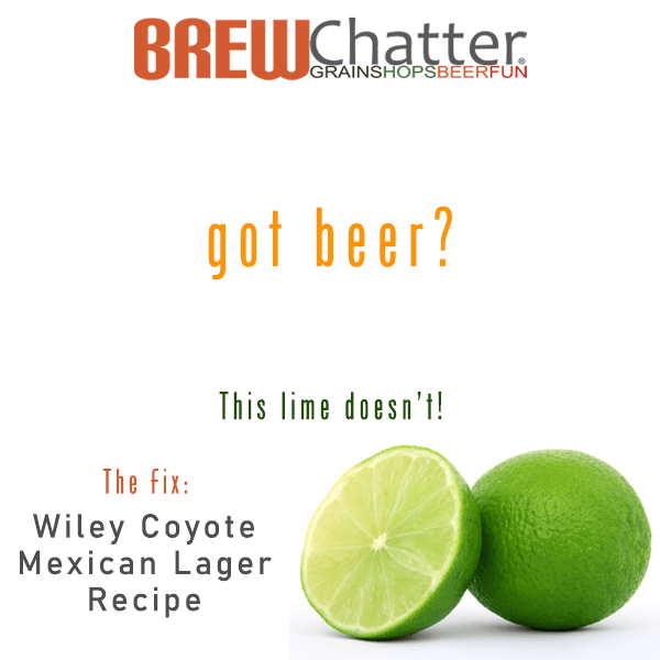 Wiley Coyote Mexican Lager Recipe kit on Sale! Free Light lager water profile kit.